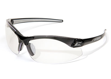 ZORGE SAFETY GLASSES BLACK WITH CLEAR LENS (DZ111)