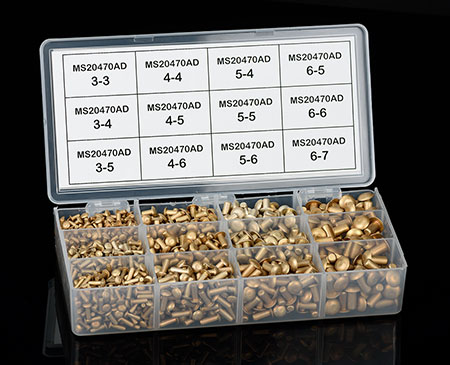 UNIVERSAL HEAD RIVET ASSORTMENT PACK (MS20470AD) (MS20470AD-PK)
